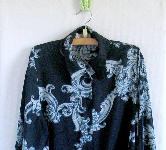 vintage floral blouse blue black blouse by vintachi on Etsy, $22.00