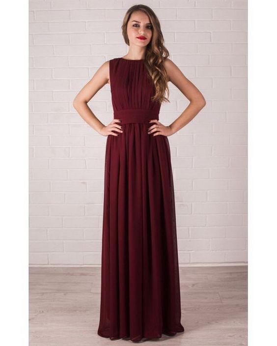 Floor Length Evening Dress Marsala. Chiffon Dress Bridesmaid. by Dioriss on Etsy https://www.etsy.com/listing/255249322/floor-length-evening-dress-marsala