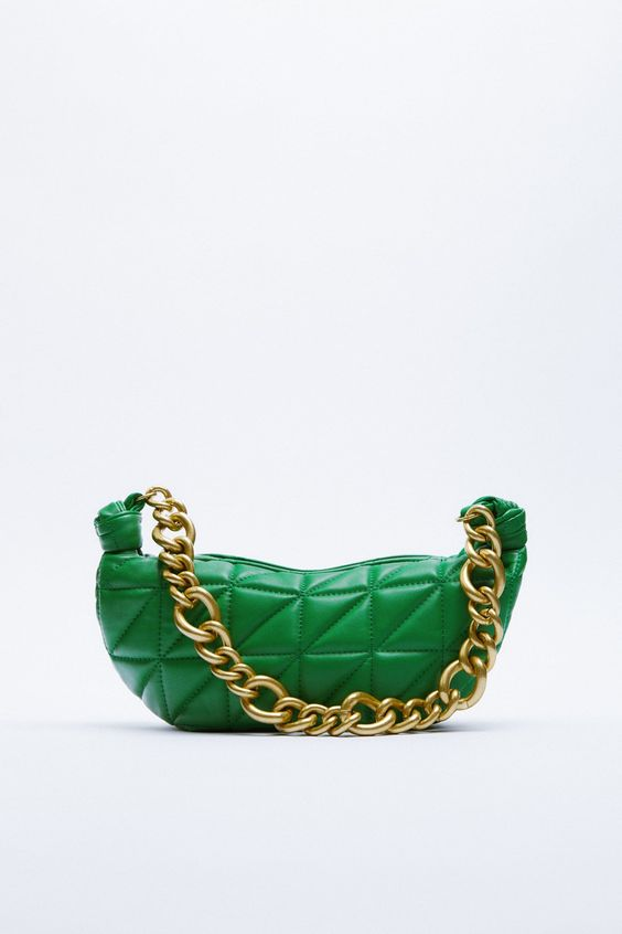 QUILTED LEATHER BAG WITH CHAIN Zara