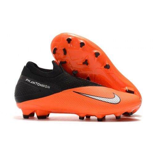 Nike Phantom Vsn Ii Elite Df Fg Laceless Soccer Cleats Orange Black Silver Firm Ground Extra Wide Soccer Cleats In 2020 Orange Black Classic Sneakers Laceless