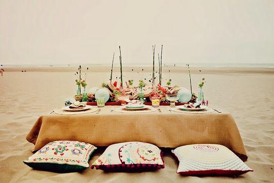 Gorgeous beach wedding tablescape.