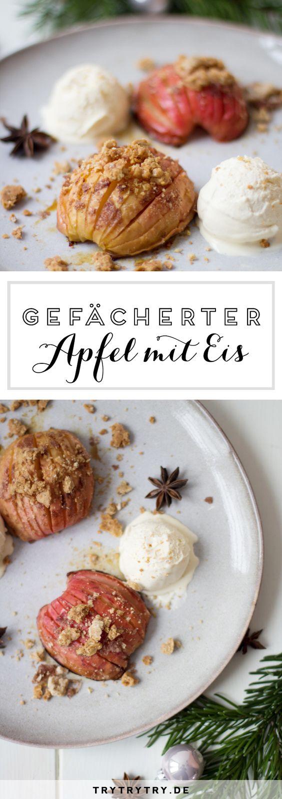 Gefächerter Apfel mit Vanilleeis - Die Bratapfelalternative