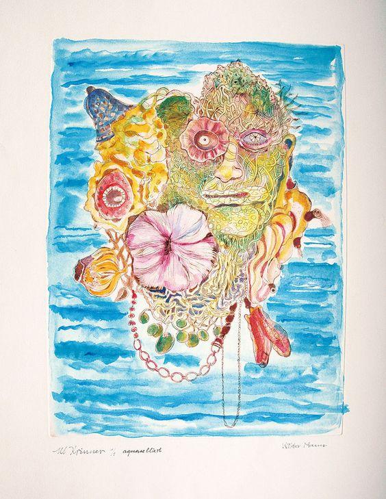 Michaela Krinner (1915-2006): Wilder Mann - Poseidon, Aquarell,  ca. 47 x 35 cm