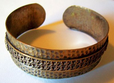 Art Deco Nouveau Cuff Bracelet Hammered by BrightgemsTreasures, $24.50