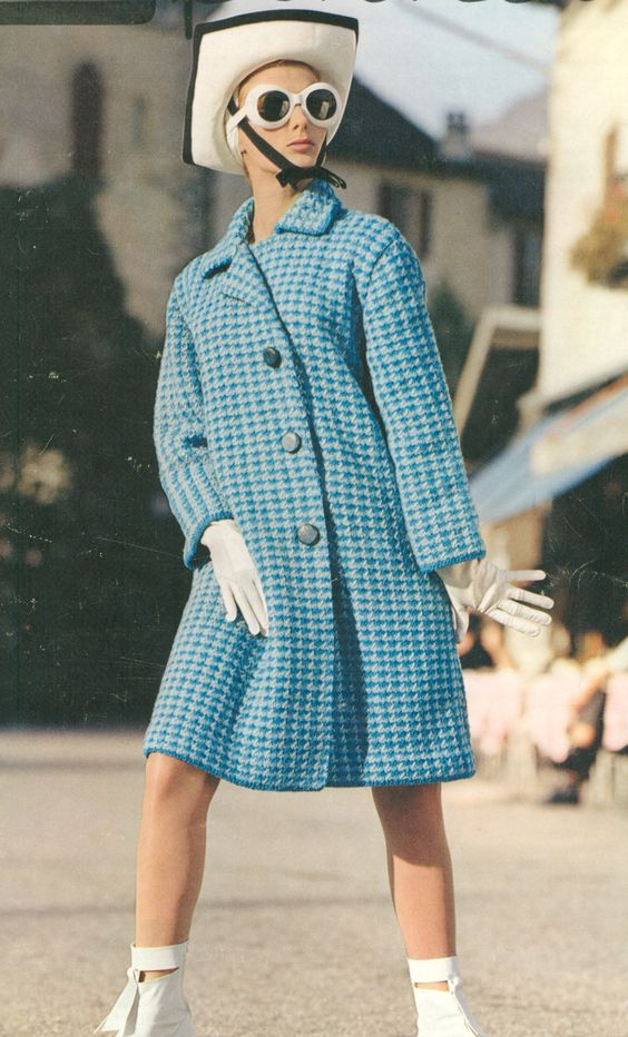 Jaunty Vintage 1960s MOD Houndstooth Coat Knitting Pattern PDF 6609 - LOL! Not my style, but I get a kick out of the picture!