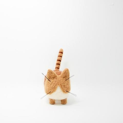 Needle Felted Felting project Animals Cat Tan White Cute Craft