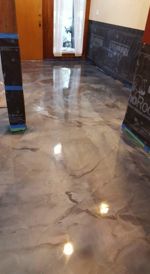 809b6278 Lava Flow Metallic Epoxy Flooring Coating System Kit Metallic Epoxy Floor Paint In 2020 Metallic Epoxy Floor Concrete Stained Floors Epoxy Floor Basement