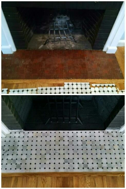 Before and after fireplace tile  BPKELCO-Boston area