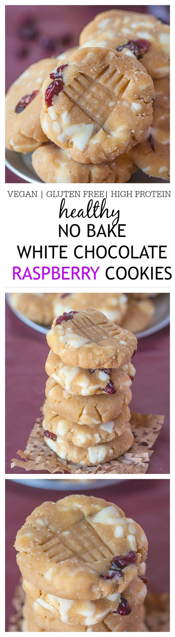 Healthy No Bake White Chocolate Raspberry Protein Cookies- Delicious, easy and ready in 10 minutes, these will be your new favourite snack!: