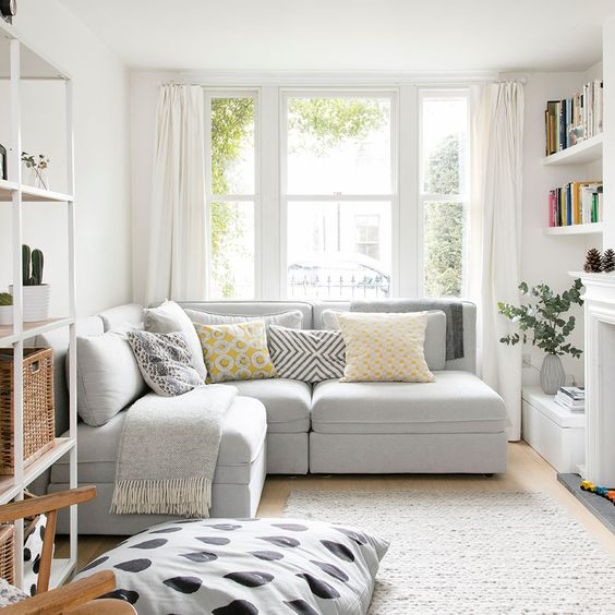I like: Clean. White. Small living room ideas – how to decorate a cosy and compact sitting room, snug or lounge