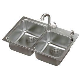 Moen Neva 20 Gauge Double Basin Drop In Or Undermount Stainless Steel Kitchen Sink With Faucet