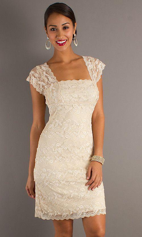 short classic lace wedding dresses  Short Lace Dress with Cap ...