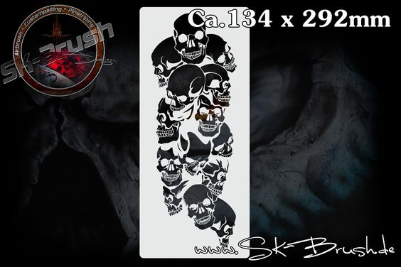 Airbrush Schablone für Schädel Skullhaufen - Totenköpfe - Skull's Kopf | SK-Brush - Fachgeschäft und Custompaint Studio für Airbrush & Pinstriping