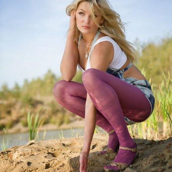 Nice sheer purple tights
