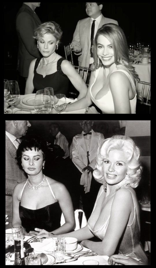 Claire and Gloria of ABC's Modern Family reenacting the famous photo of Sophia Loren and Jayne Mansfield is made of awesome.