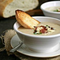 roasted cauliflower and gruyere soup