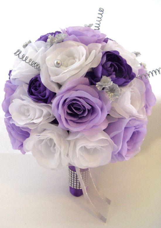Wedding Flowers Silk Bridal Bouquet 17 Piece Package Lavender