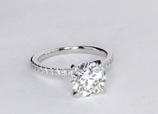 Petite Pave Diamond Engagement Ring in Platinum (1/4 ct. tw.)   Blue Nile