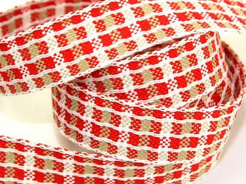 Red, White & Beige Woven Check Ribbon for Christmas Crafts - 15 metre roll Preview