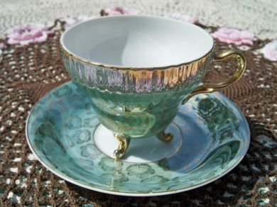 Vintage Footed Wales China Teacup and Saucer Japan Mint