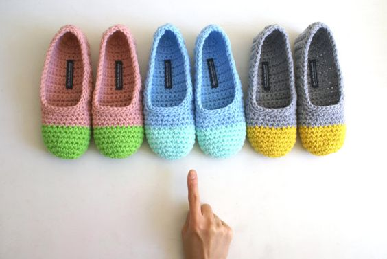 Crochet slippers, cute colour combinations