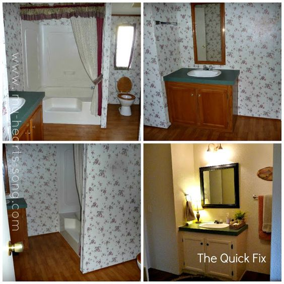 My Heart S Song Guest Bathroom With A French Country Twist Mobile Home Makeovers Mobile Home Bathroom Remodeling Mobile Homes