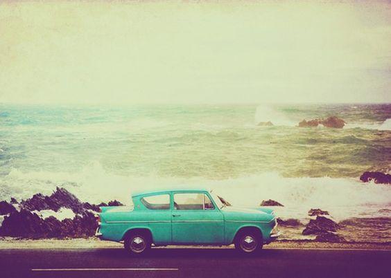 vintage car. vintage beach. #etsy