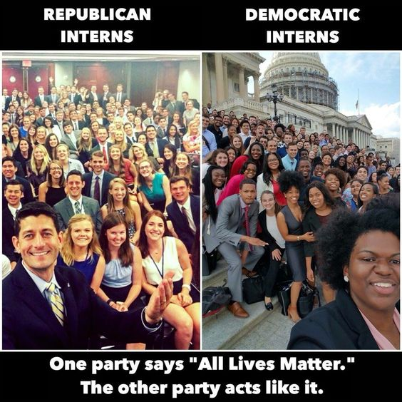 "One party says ""All lives matter"" The other party acts like it.  Republican Interns-vs-Democratic Interns"