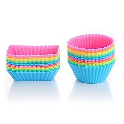 OuTera Silicone Cupcake Baking Muffin Cups Liners Molds Sets for Ice cream ca...