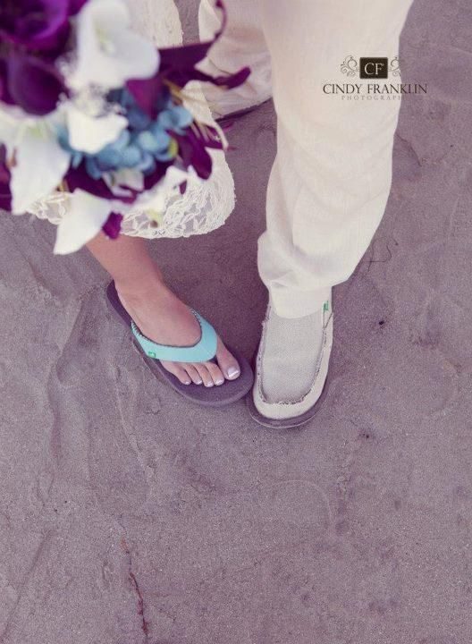 Newly wed. Forever comfy. The Bullock's tie the knot in their Sanuks!
