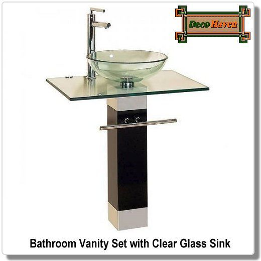 Bathroom Vanity Set With Clear Glass Sink This Swiss And Italian