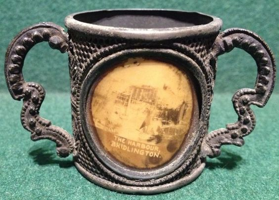 Rare Early Pewter / White Metal Souvenir Loving Cup - The Harbour Bridlington
