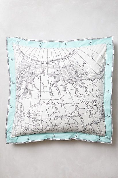 Plot your retreat and vacation dreams on this #map Tradewinds Euro Sham - anthropologie.com #anthroregistry