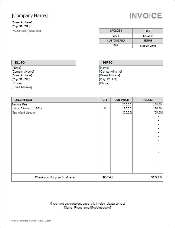 Blank Invoice Template Blankinvoice Org 2349090 - an image part of - excel invoices templates free