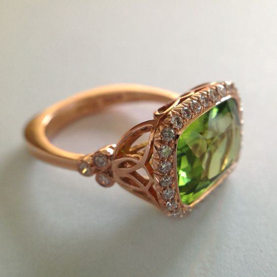 Dalben Peridot Diamond Rose Gold Ring | From a unique collection of vintage fashion rings at http://www.1stdibs.com/jewelry/rings/fashion-rings/:
