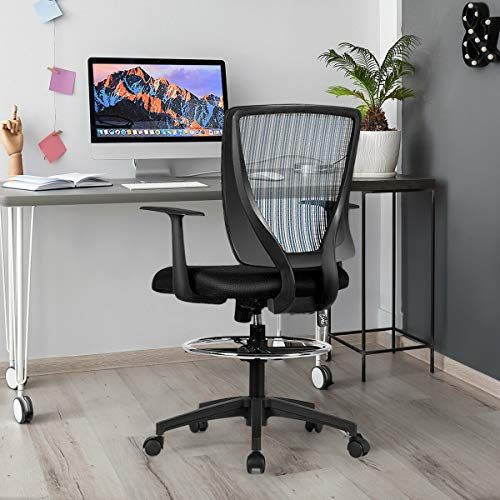 Footrest Ring Mid Back Mesh Drafting Office Chair Mid Back Executive Which Features Sophisticated Pr Drafting Office Chair Office Chair Executive Office Chairs
