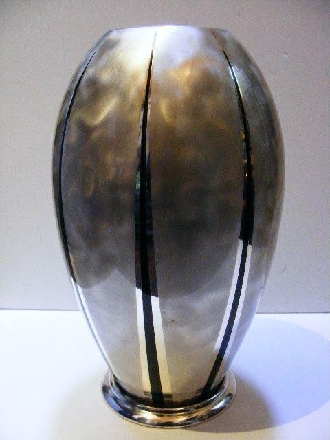 A Very Large Rare Vintage Bauhaus German Art Deco WMF IKORA Zeppelin Shaped Vase in Antiques, Silver
