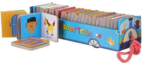 Amazing Alphabet pull-along Learning Train.  Colourful cardboard train shaped box on wheels contains 26 little ABC board books, one for each letter of the alphabet for early learners. £8.99 including postage
