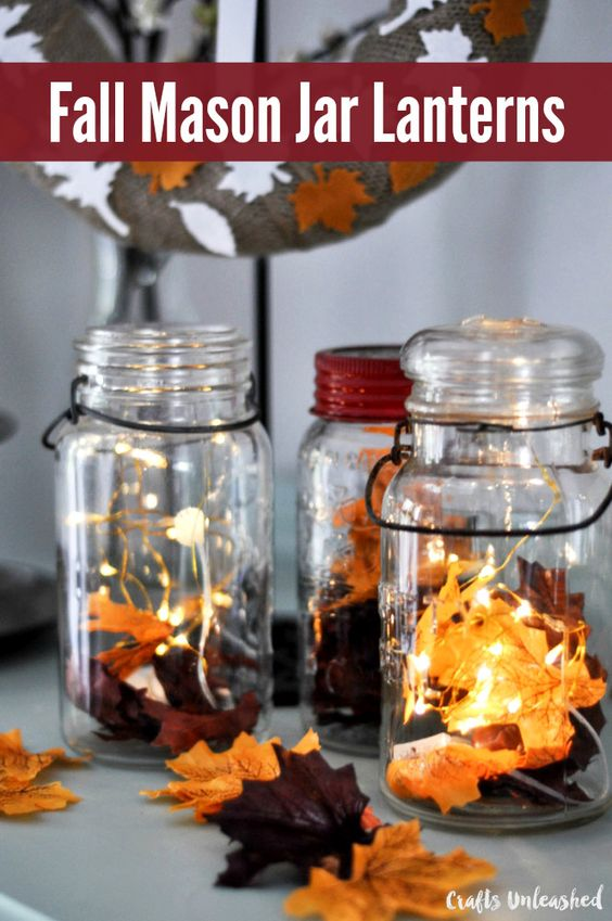 DIY fall decor using Mason Jar Lanterns