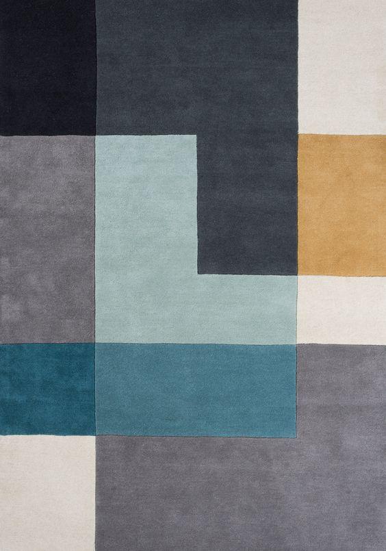 Tetris. Alfombra lana, diseño nórdico. Encuéntralo en Alboroque Decoracion.