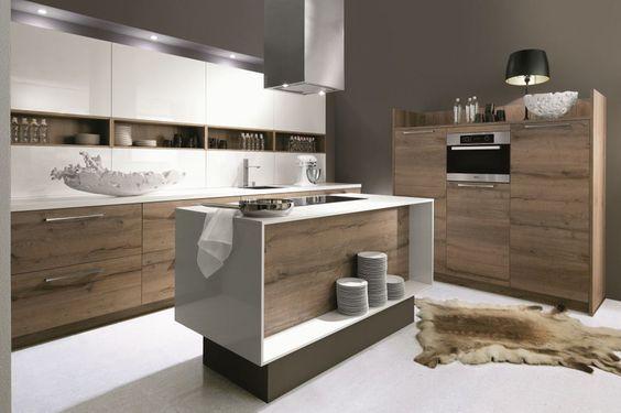 Agencement de cuisines modernes haut de gamme sur mesure - Cuisine blanc laque et bois ...