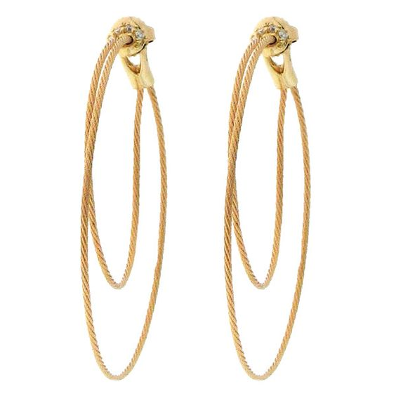Paul Morelli  18k Double wire hoops with diamonds