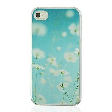 witte bloemen leer aderpatroon pc harde case voor iPhone 4/4s – EUR € 3.67