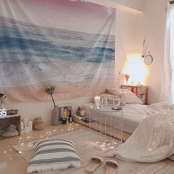 Bedroom/キャンドル/IKEA/間接照明/タペストリー/ニトリ...などのインテリア実例 - 2018-06-17 01:52:11