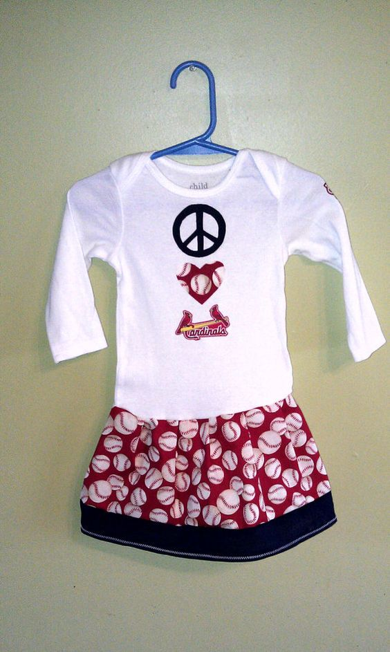 Peace Love Cardinals Baby Infant Toddler Girls Tshirt Onesie Dress St. Louis Cardinals Other Teams Available Sizes NB-5T FREE SHIPPING. $19.95, via Etsy.