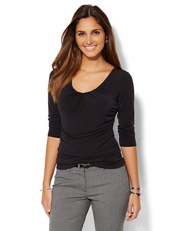Shop Pleated V-Neck Top. Find your perfect size online at the best price at New York & Company.