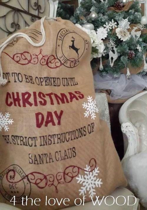 Santa Gift Sack Burlap Present bag
