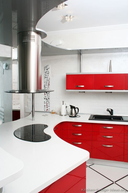 Kitchen Idea Of The Day Roses Are Red So Are These Kitchens Classy Red Curved Modern Kitchen Design Red Kitchen Cabinets Red Kitchen