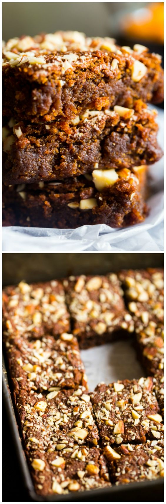 Vegan and Paleo Pumpkin Almond Butter Blondies - One Bowl and only 100 CALORIES of gluten/grain/sugar/oil/dairy free deliciousness. HOW CAN YOU RESIST?!