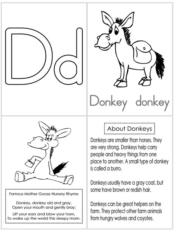 d is for donkey coloring pages - photo #44